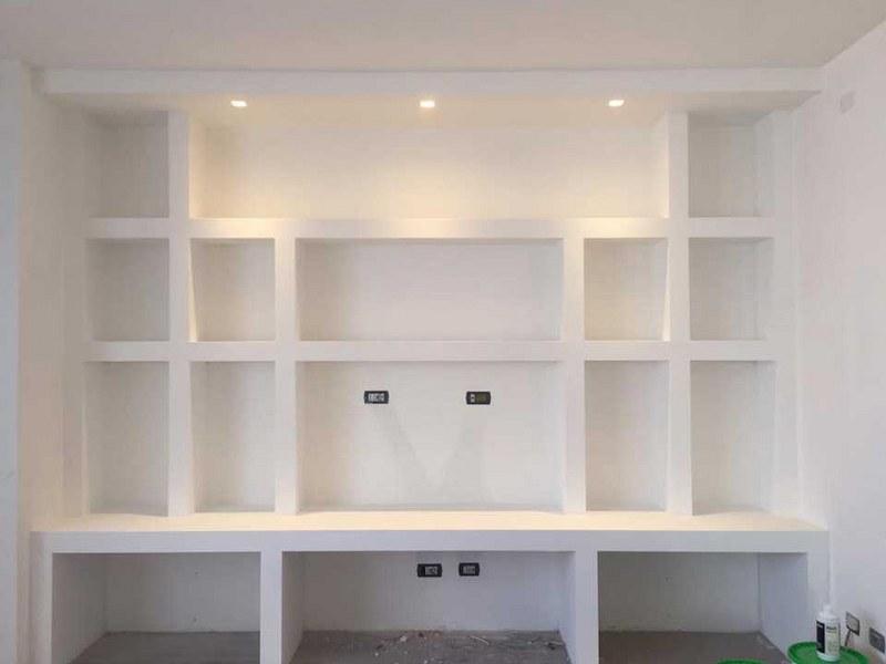 Come realizzare una libreria in cartongesso esperto in casa for Parete attrezzata in cartongesso immagini